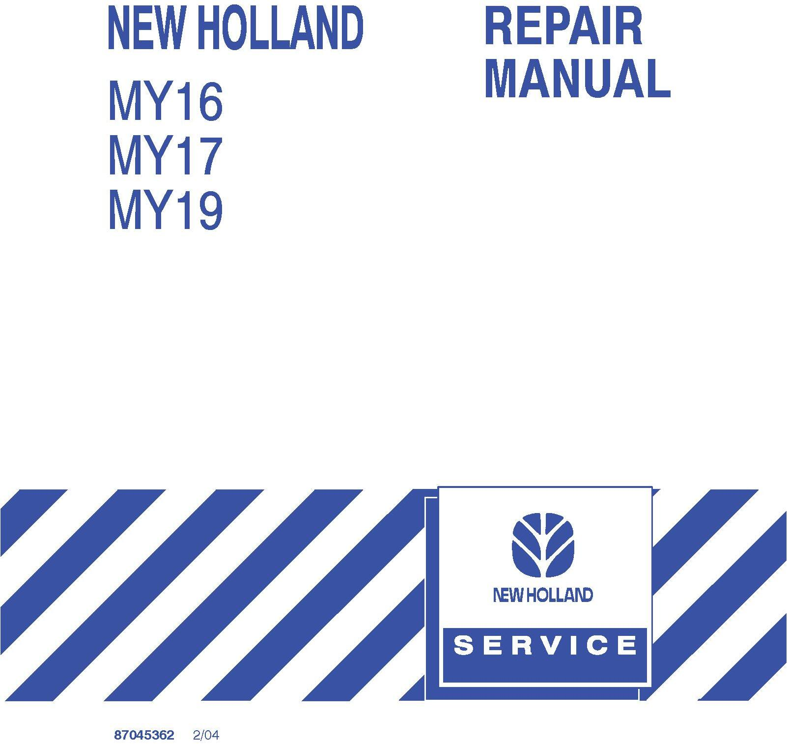 New Holland MY16, MY17, MY19 Yard Tractor Service Manual - 19604