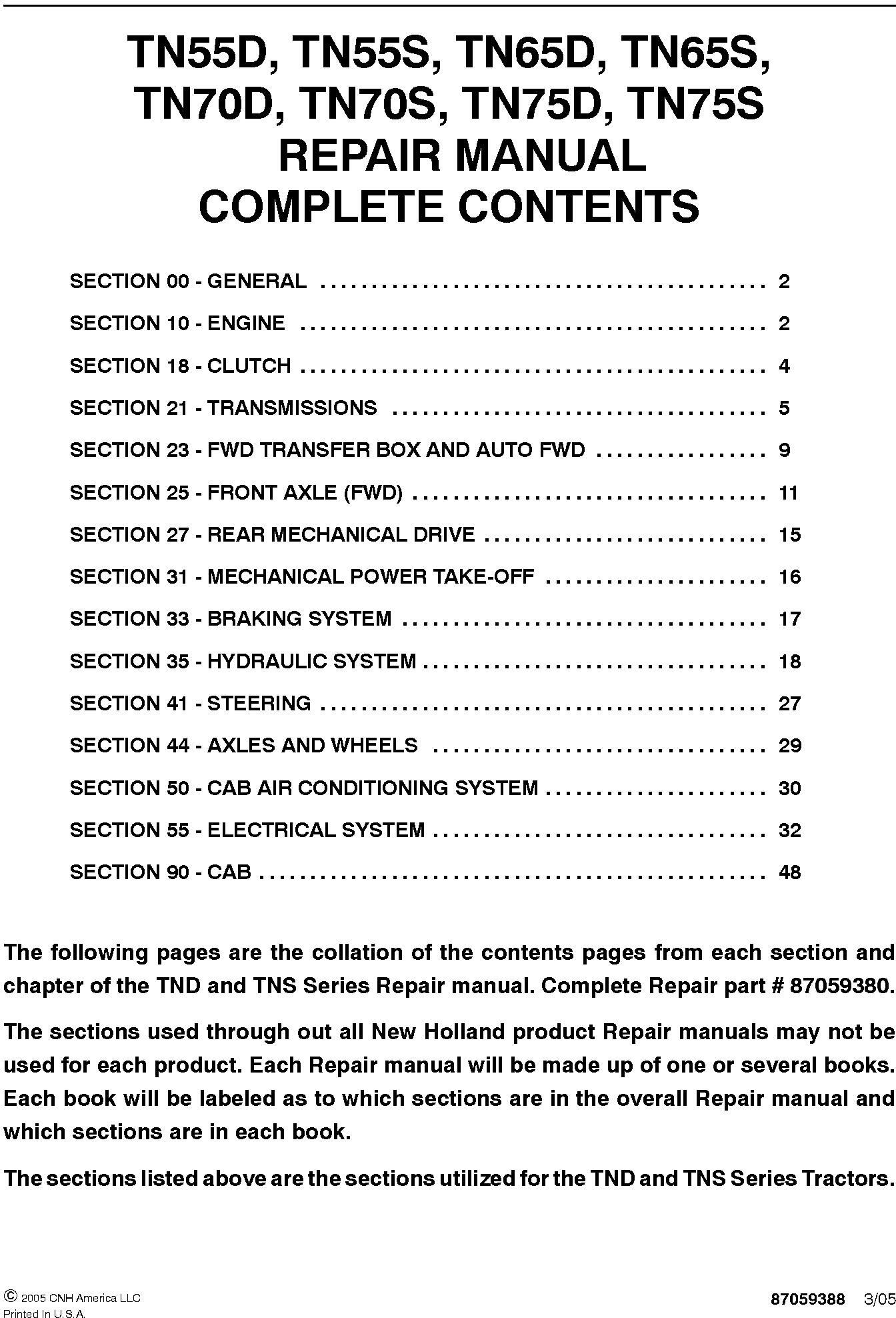 New Holland TN55D, TN65D, TN70D, TN75D, TN55S, TN65S, TN70S, TN75S Tractor Service Manual - 19608