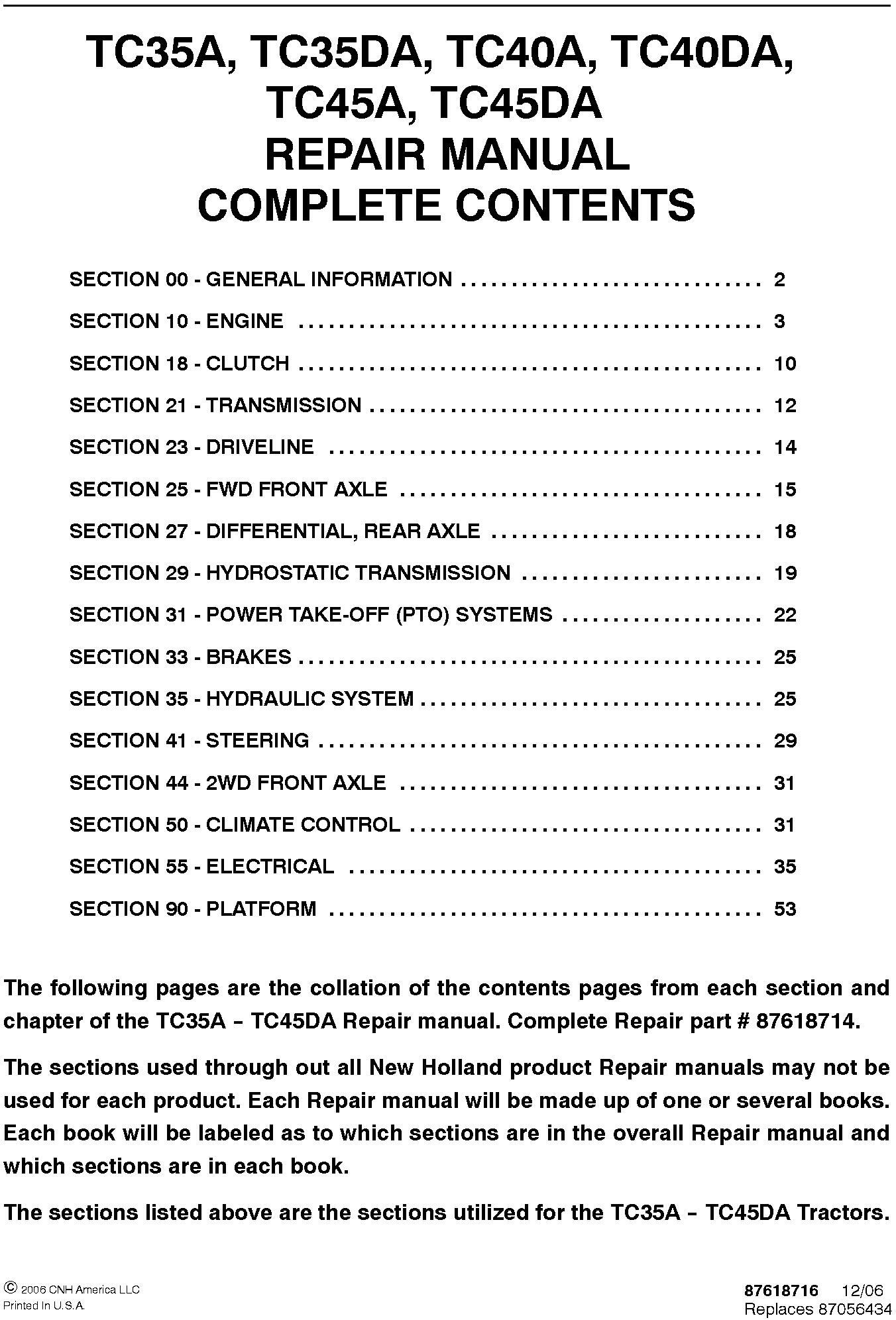 New Holland TC35A, TC35DA, TC40A, TC40DA, TC45A, TC45DA, Tractor Complete Service Manual - 19623