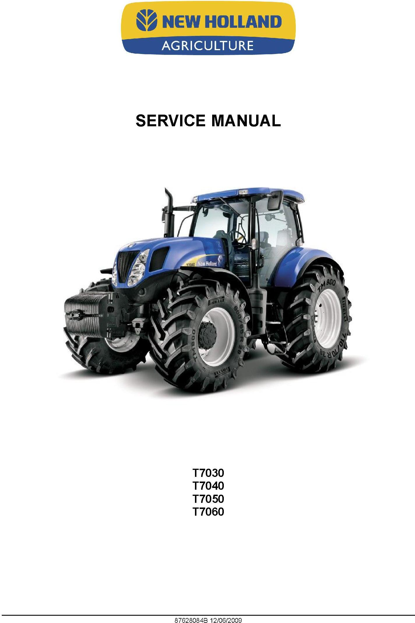 New Holland T7030, T7040, T7050, T7060 Tractor Service Manual - 19625