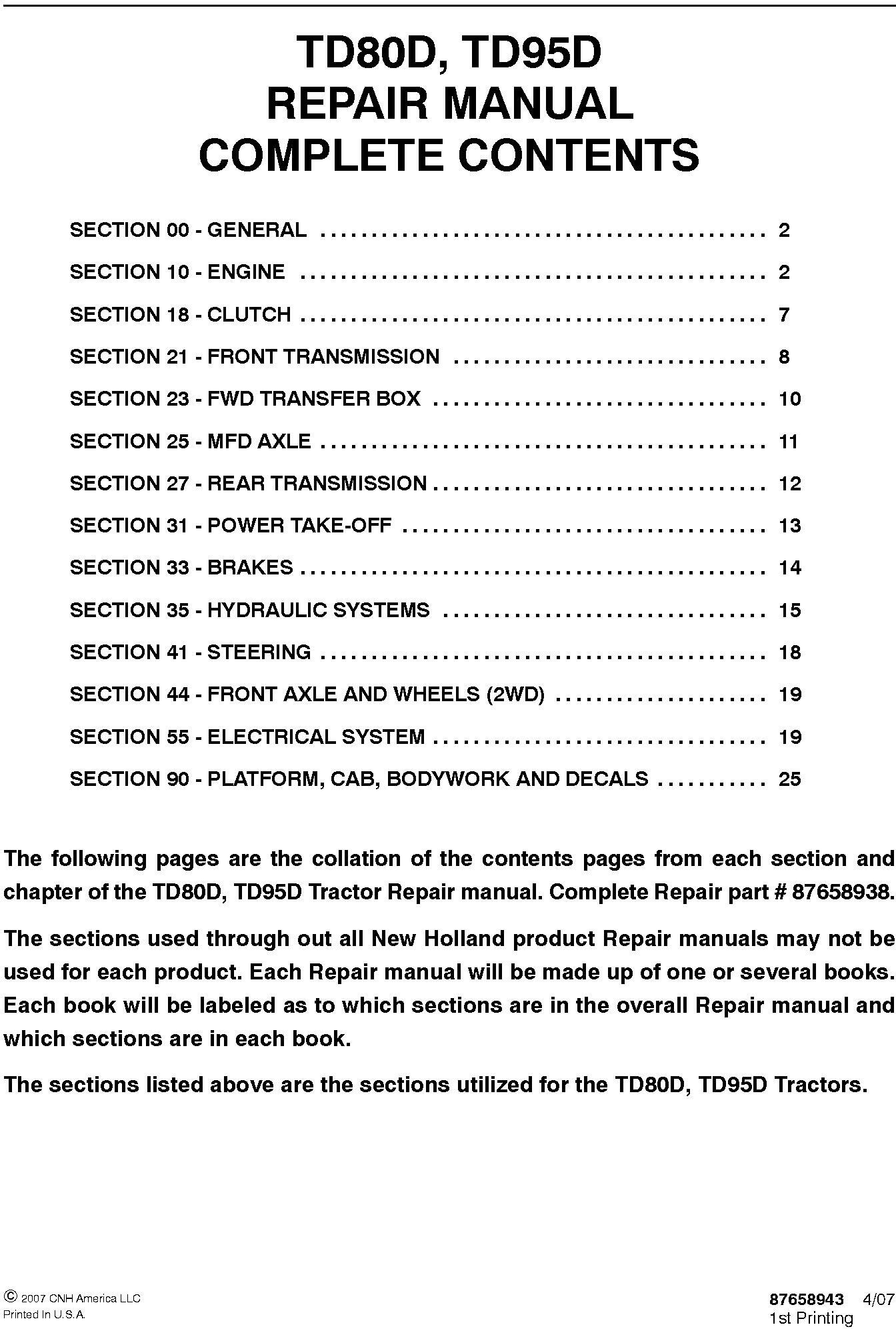 New Holland TD80D, TD95D Tractor Service Manual - 19627