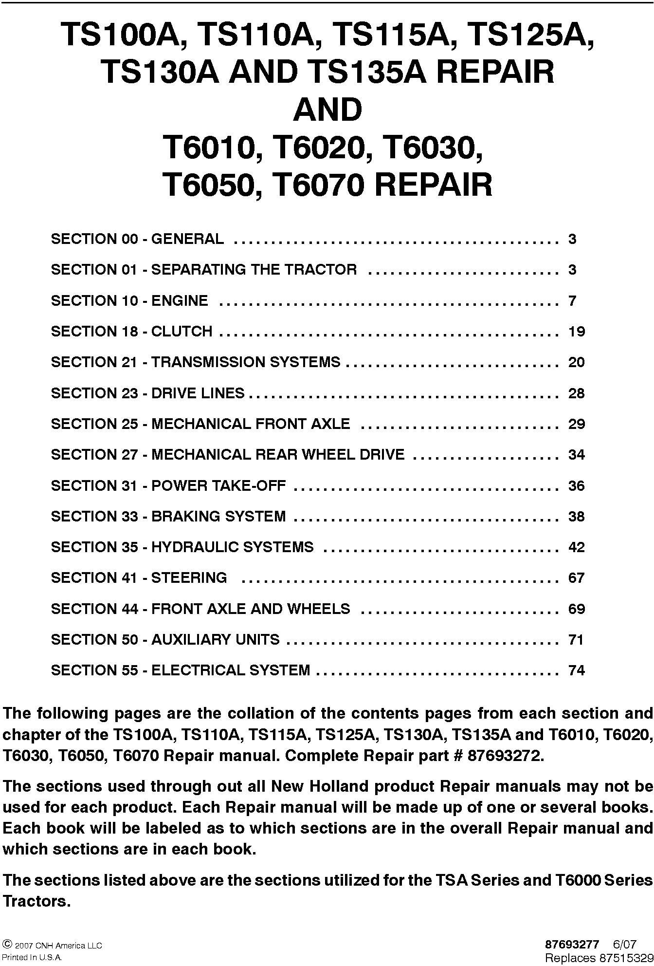 New Holland TS100A, TS110A, TS115A, TS125A, TS130A, TS135A, T6010, T6020, T6030,T6050 Service Manual - 19631