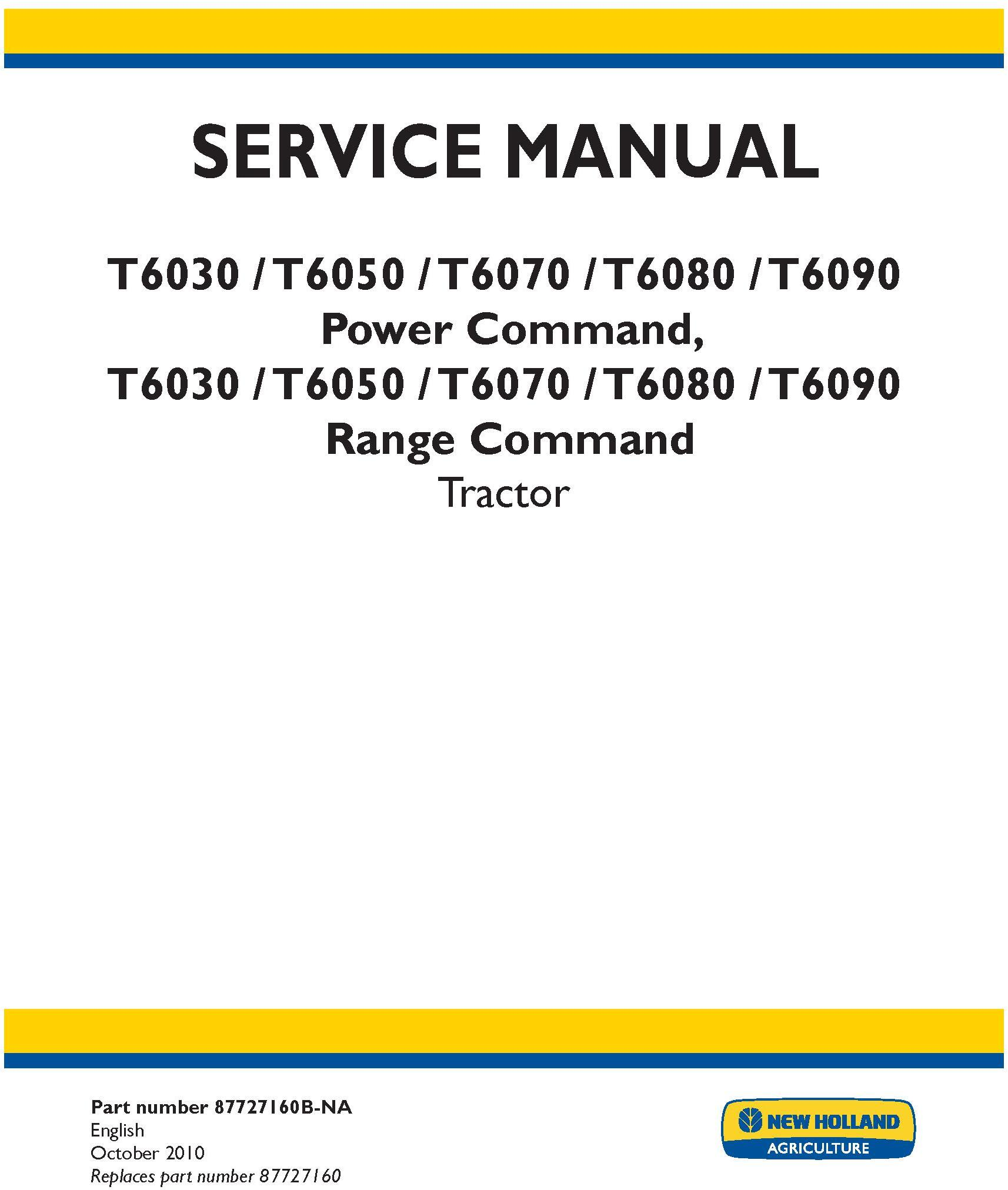 New Holland T6030, T6050, T6070, T6080, T6090 Power Command, Range Command Service Manual - 19635