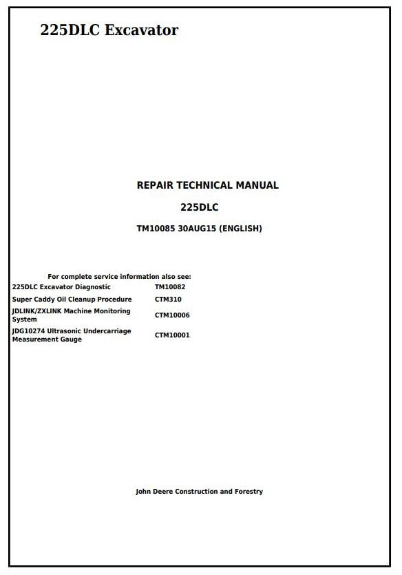 TM10085 - John Deere 225DLC Excavator Service Repair Technical Manual - 17593
