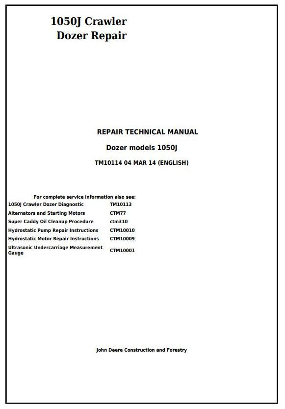 TM10114 - John Deere 1050J Crawler Dozer Service Repair Technical Manual - 17407