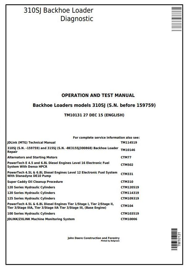 TM10131 - John Deere 310SJ Backhoe Loader (SN.-159759) Diagnostic, Operation and Test Service Manual - 17303