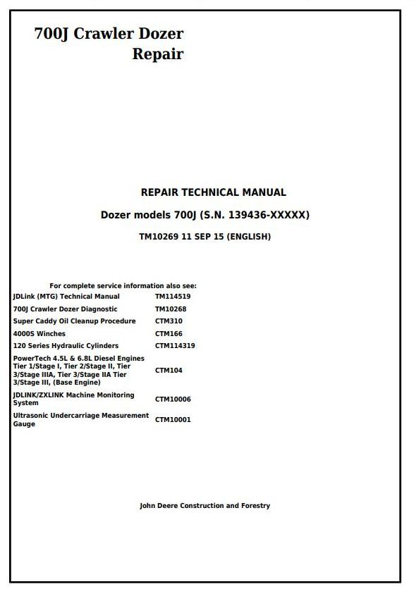 TM10269 - John Deere 700J Crawler Dozer (S.N. from 139436) Service Repair Technical Manual