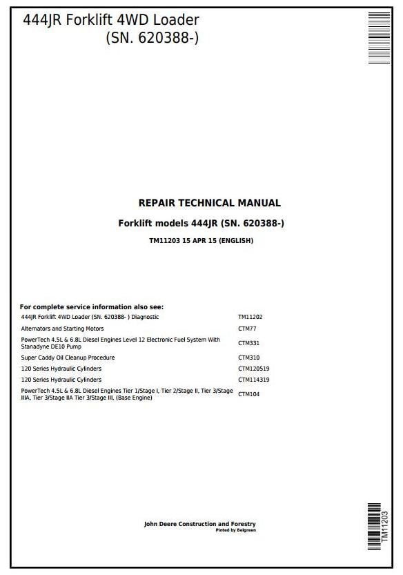 TM11203 - John Deere 444JR Forklift 4WD Loader (SN. 620388-) Service Repair Technical Manual - 17821