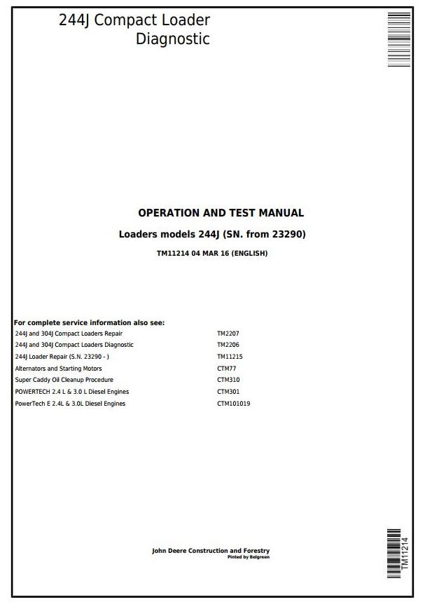 TM11214 - John Deere 244J Compact Loader (SN.23290-) Diagnostic, Operation and Test Service Manual - 17822