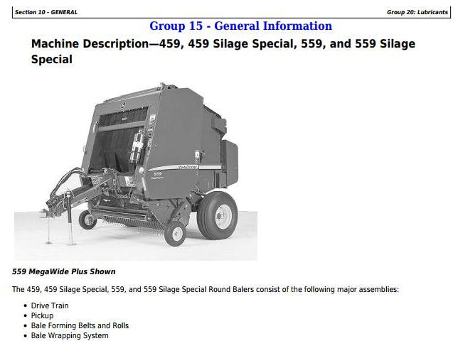 TM121119 - John Deere 459s, 559s Silage Special; 459, 559 Round Balers All Inclusive Technical Manual - 18164