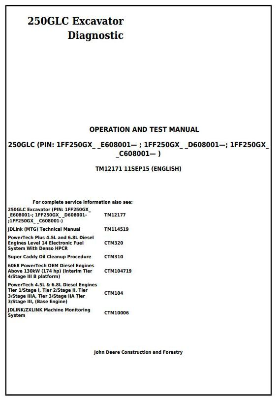 TM12171 - John Deere 250GLC Excavator Diagnostic, Operation and Test Service Manual - 17612