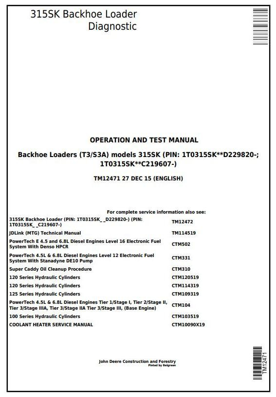 TM12471 - John Deere 315SK (T3/S3A) Backhoe Loader (SN: D229820-) Diagnostic and Test Service Manual - 17344