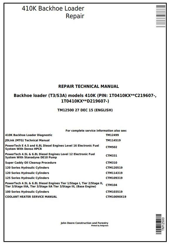 TM12500 - John Deere 410K (T3/S3A) Backhoe Loader (SN from 219607) Service Repair Technical Manual - 17355