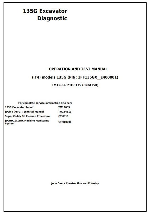 TM12666 - John Deere 135G (iT4) Excavator Diagnostic, Operation and Test Service Manual - 17646
