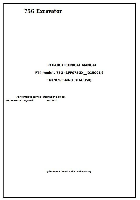 TM12876 - John Deere 75G (FT4) Compact Excavator Service Repair Technical Manual - 17655