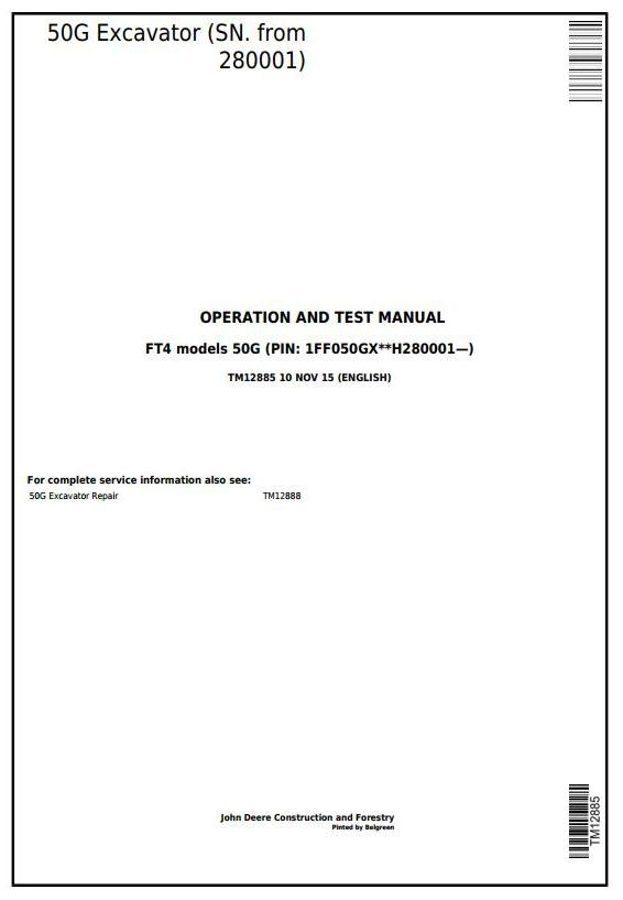 TM12885 - John Deere 50G (SN.280001-) Compact Excavator Diagnostic, Operation & Test Service Manual - 17658