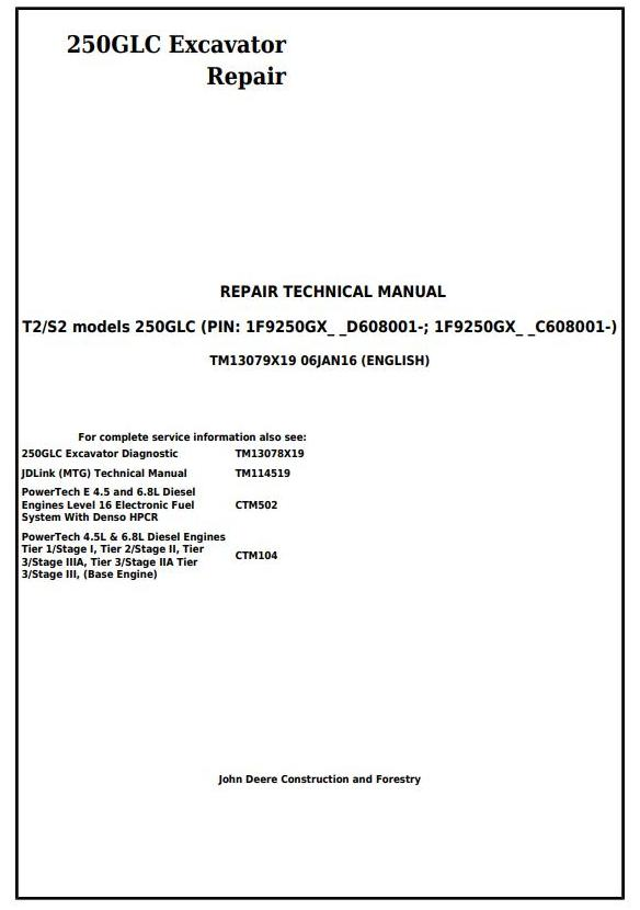 TM13079X19 - John Deere 250GLC (T2/S2) Excavator Service Repair Technical Manual - 17665