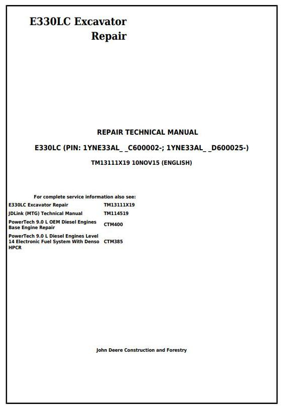 TM13111X19 - John Deere E330LC Excavator Service Repair Technical Manual - 17670