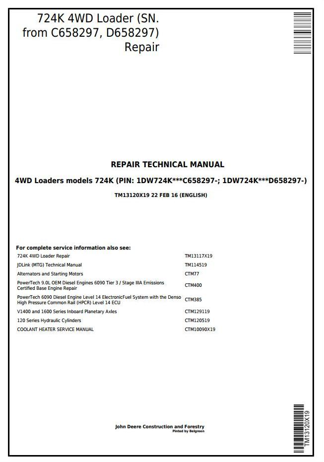 TM13120X19 - John Deere 724K 4WD Loader (SN. from C658297, D658297) Service Repair Technical Manual - 17887