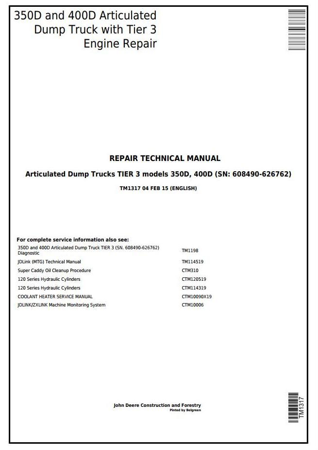 TM1317 - John Deere 350D, 400D Truck Articulated Dump 608490 - XXXXXX Repair Technical Manual - 17280