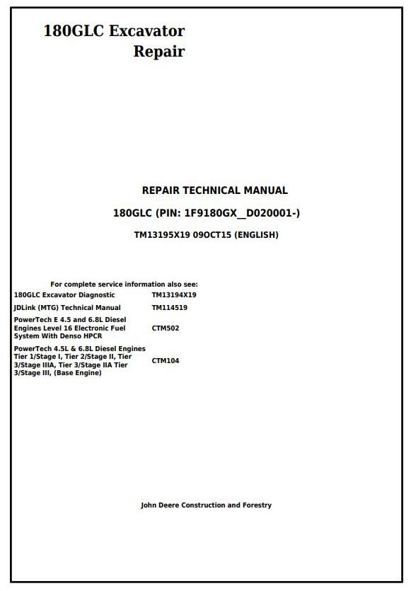TM13195X19 - John Deere 180GLC (PIN: 1F9180GX__D020001-) Excavator Service Repair Technical Manual - 17677