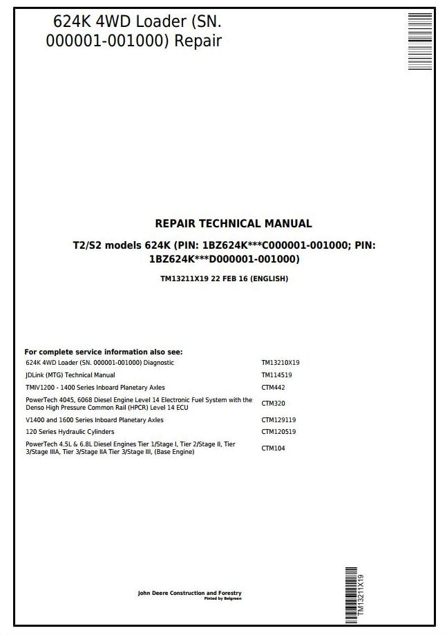 TM13211X19 - John Deere 624K (T2/S2) 4WD Loader (SN.000001-001000) Service Repair Technical Manual - 17893