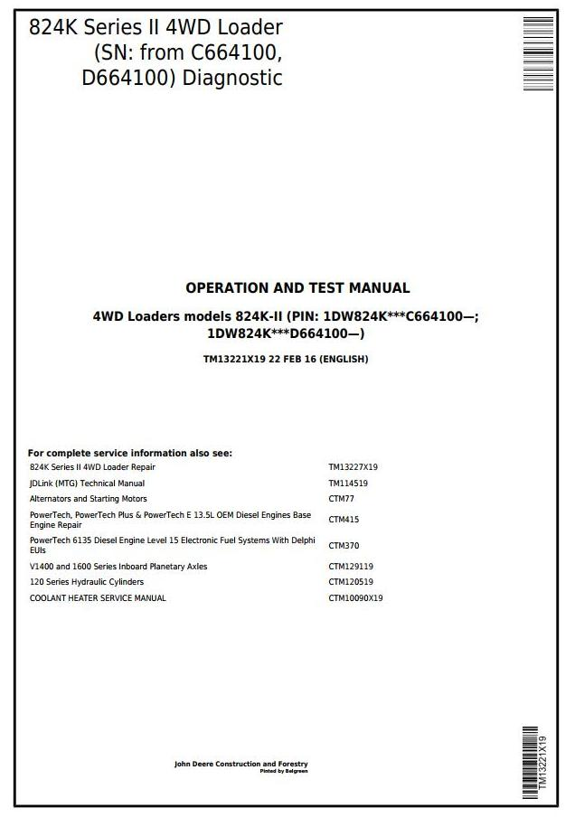 TM13221X19 - John Deere 824K Series II 4WD Loader (SN:from C664100, D664100) Diagnostic & Test Manual - 17901