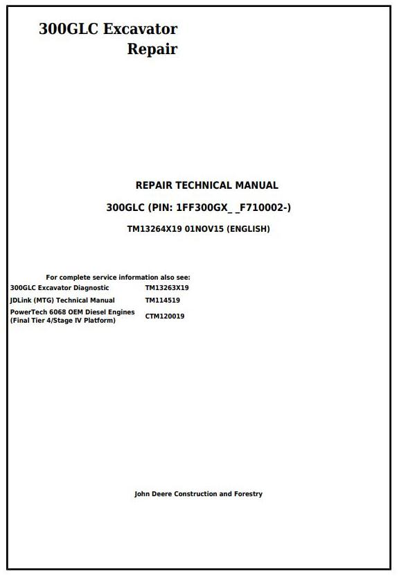 TM13264X19 - John Deere 300GLC Excavator Service Repair Technical Manual - 17691