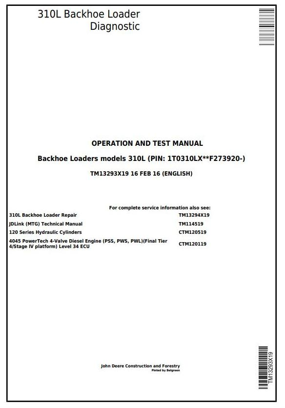 TM13293X19 - John Deere 310L Backhoe Loader (SN: F273920-) Diagnostic, Operation&Test Service Manual - 17368