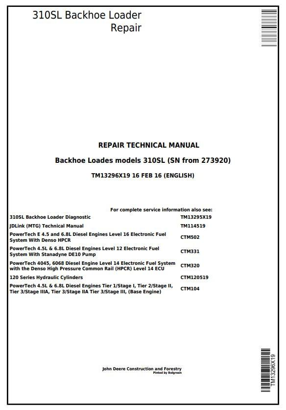 TM13296X19 - John Deere 310SL Backhoe Loader (SN: 273920-) Service Repair Technical Manual - 17371