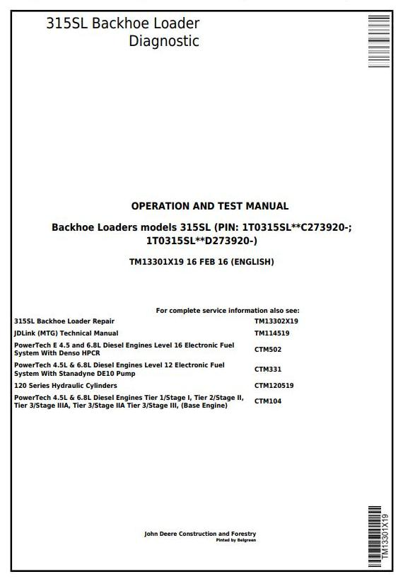 TM13301X19 - John Deere 315SL Backhoe Loader (SN.from 273920) Diagnostic and Test Service Manual - 17376