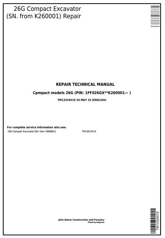 TM13324X19 - John Deere 26G (SN. from K260001) Compact Excavator Service Repair Technical Manual - 17693