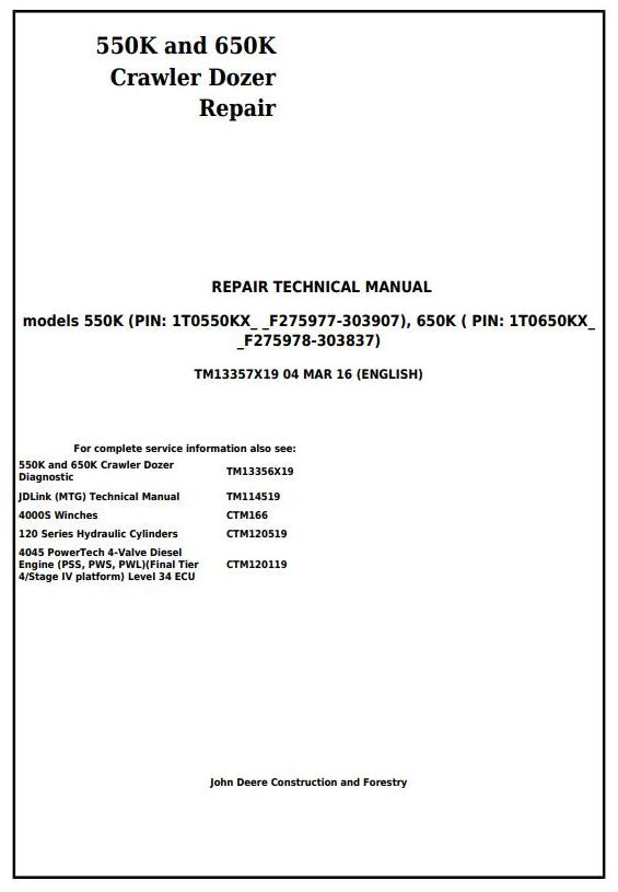 TM13357X19 - John Deere 550K, 650K Crawler Dozer (S.N. from 275977) Service Repair Technical Manual - 17445