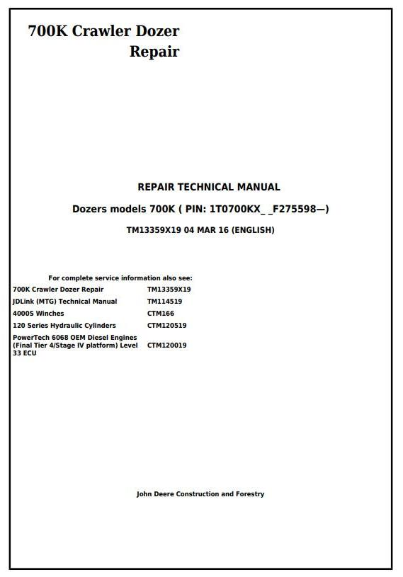 TM13359X19 - John Deere 700K Crawler Dozer (S.N. from 275598) Service Repair Technical Manual - 17447