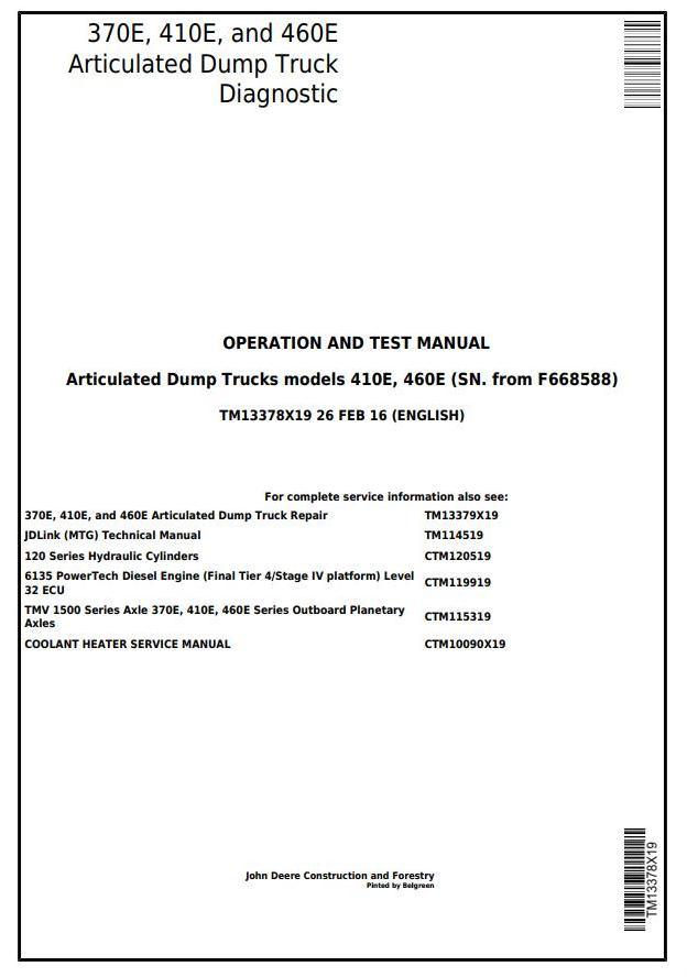 TM13378X19 - John Deere 370E, 410E, 460E ADT 1DW370E___F668588- Operation and Test Manual