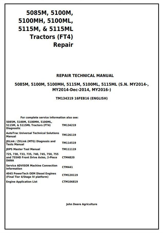 TM134319 - John Deere 5085M, 5100M, 5100MH, 5100ML, 5115M, 5115ML (FT4) Tractor Service Repair Manual - 18539