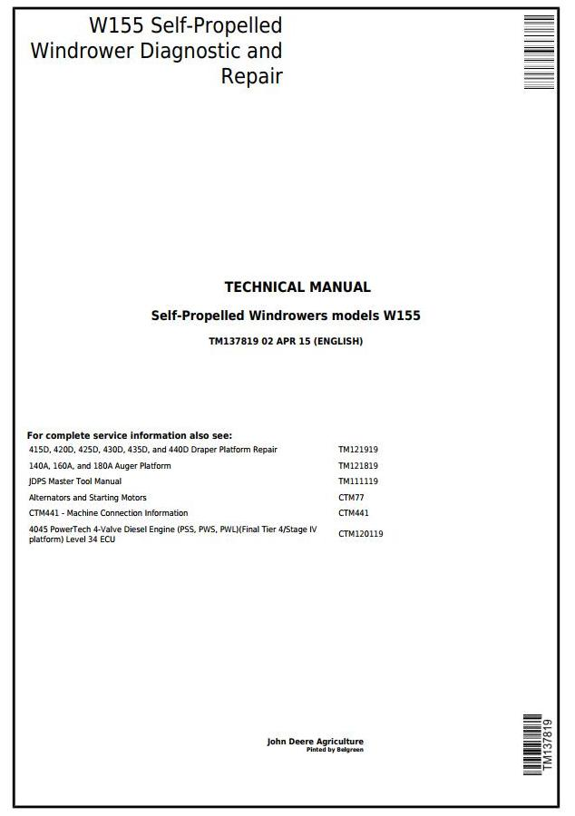 TM137819 - John Deere W155 Self-Propelled Hay&Forage Windrowers Diagnostic & Repair Technical Manual - 18180