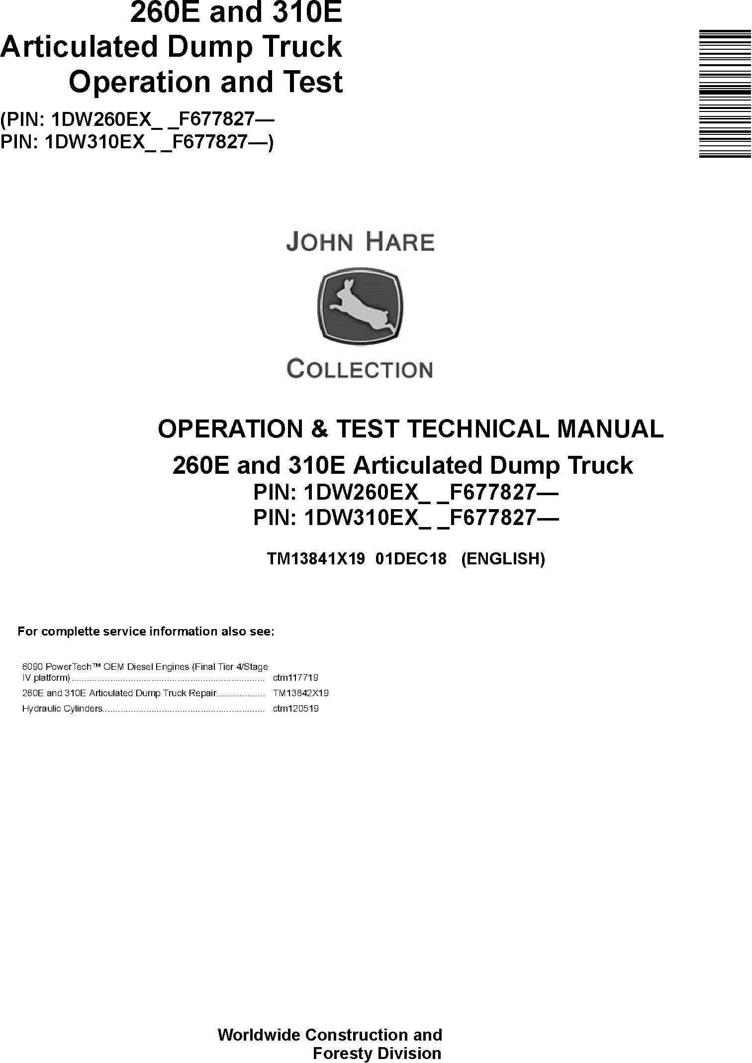John Deere 260E, 310E Articulated Dump Truck (SN. F677827-) Diagnostic Technical Manual (TM13841X19) - 19285