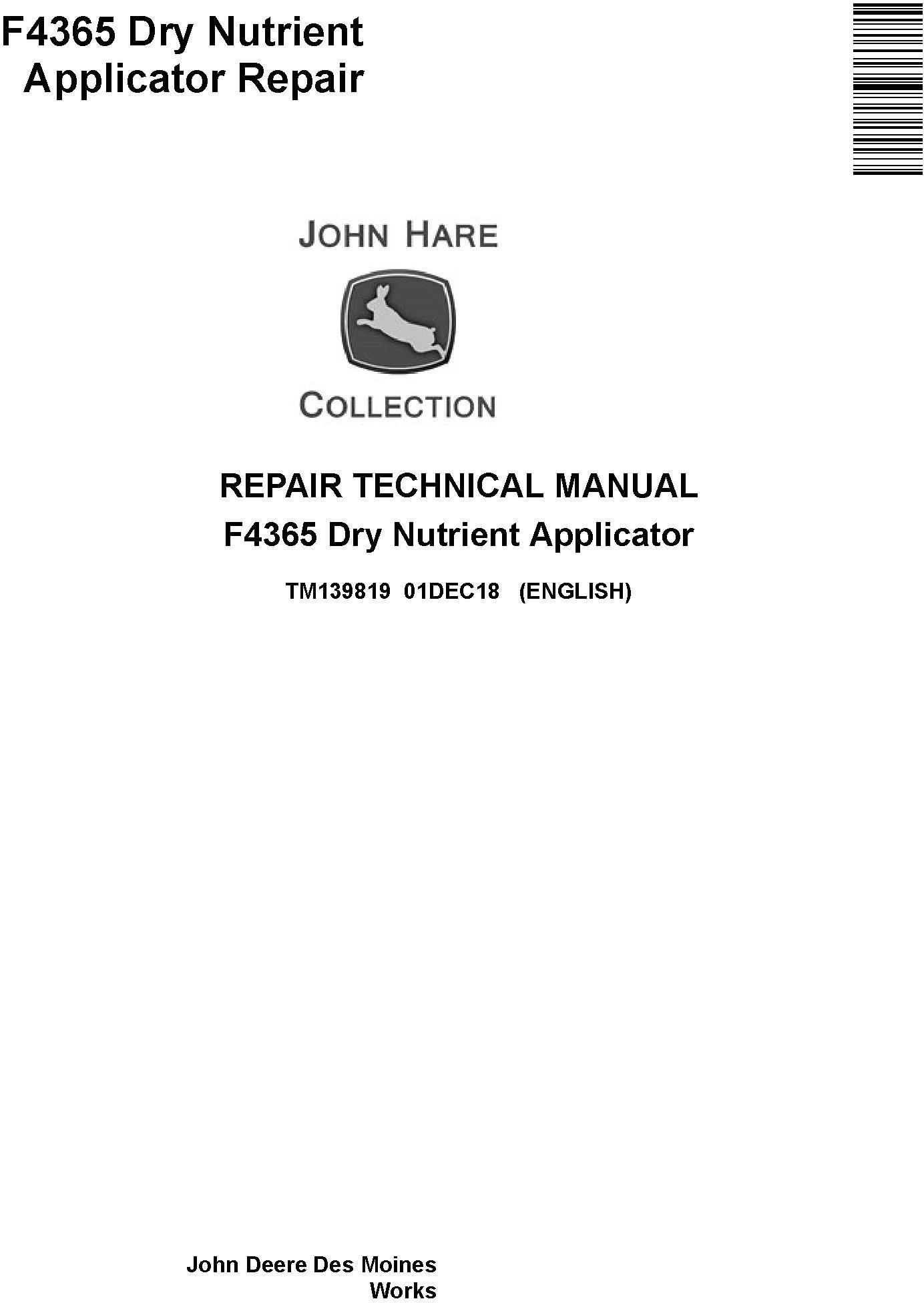John Deere F4365 Dry Nutrient Applicator Service Repair Technical Manual (TM139819) - 19240