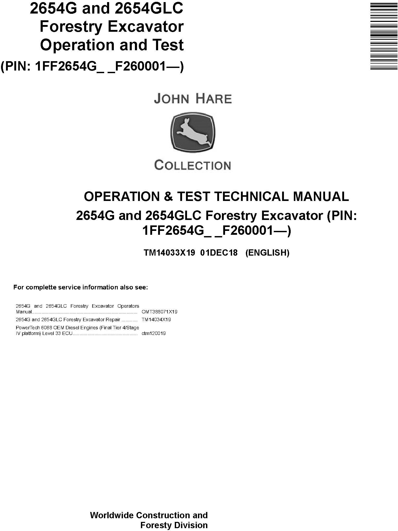 John Deere 2654G, 2654GLC (SN. F260001-) Forestry Excavator Diagnostic Technical Manual (TM14033X19) - 19202