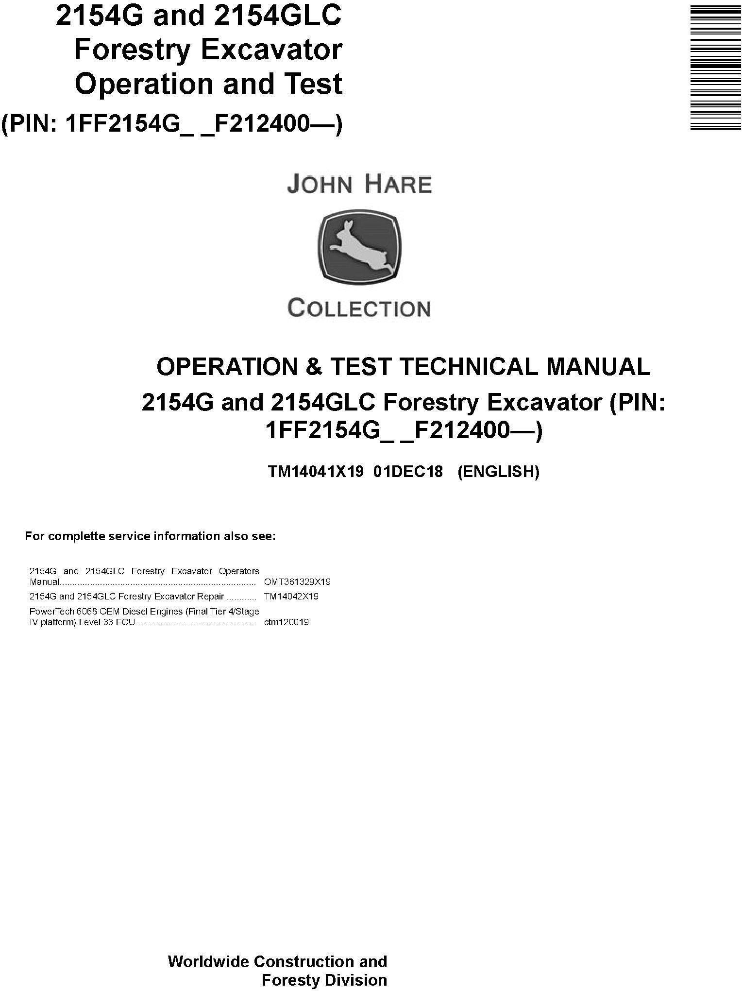 John Deere 2154G, 2154GLC (SN. F212400-) Forestry Excavator Diagnostic Technical Manual (TM14041X19) - 19210