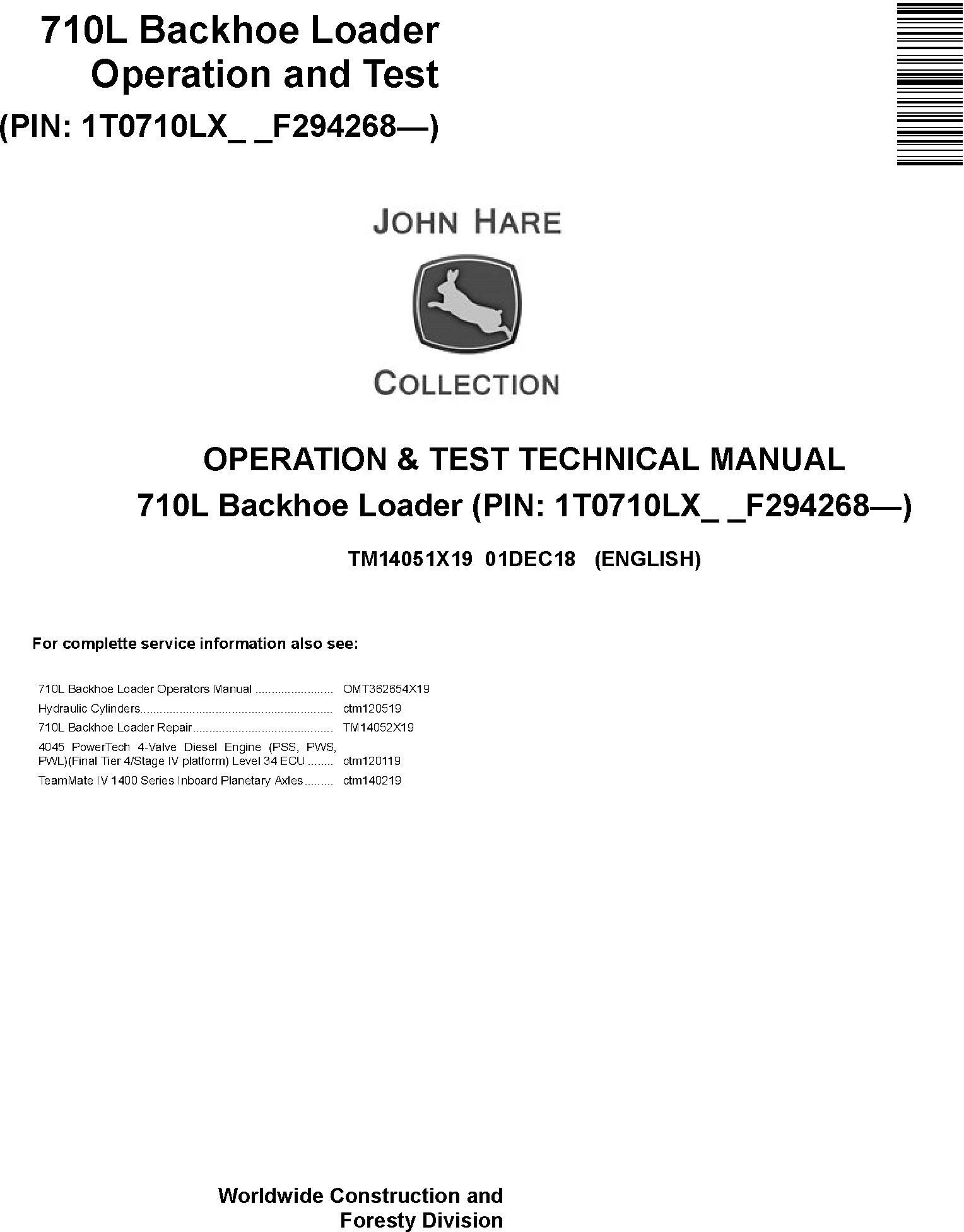 John Deere 710L (SN. from F294268) Backhoe Loader Operation and Test Technical Manual (TM14051X19) - 19144
