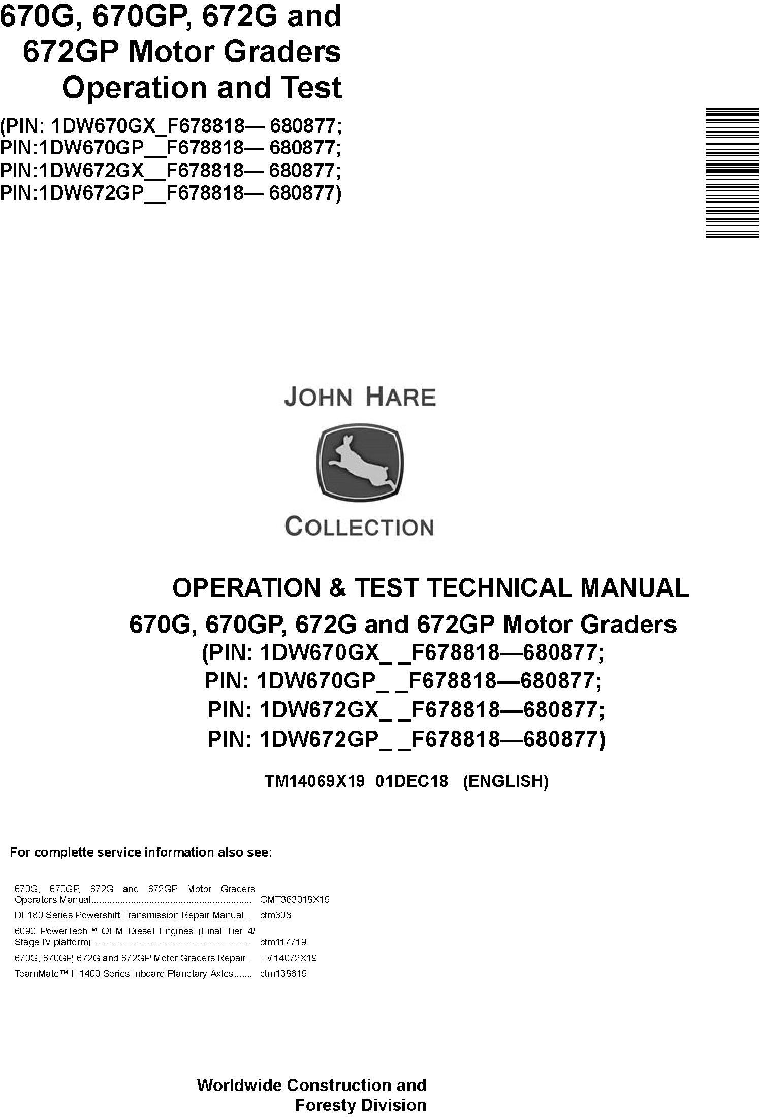 John Deere 670G, 670GP, 672G and 672GP Motor Graders Operation & Test Technical Manual (TM14069X19) - 18990