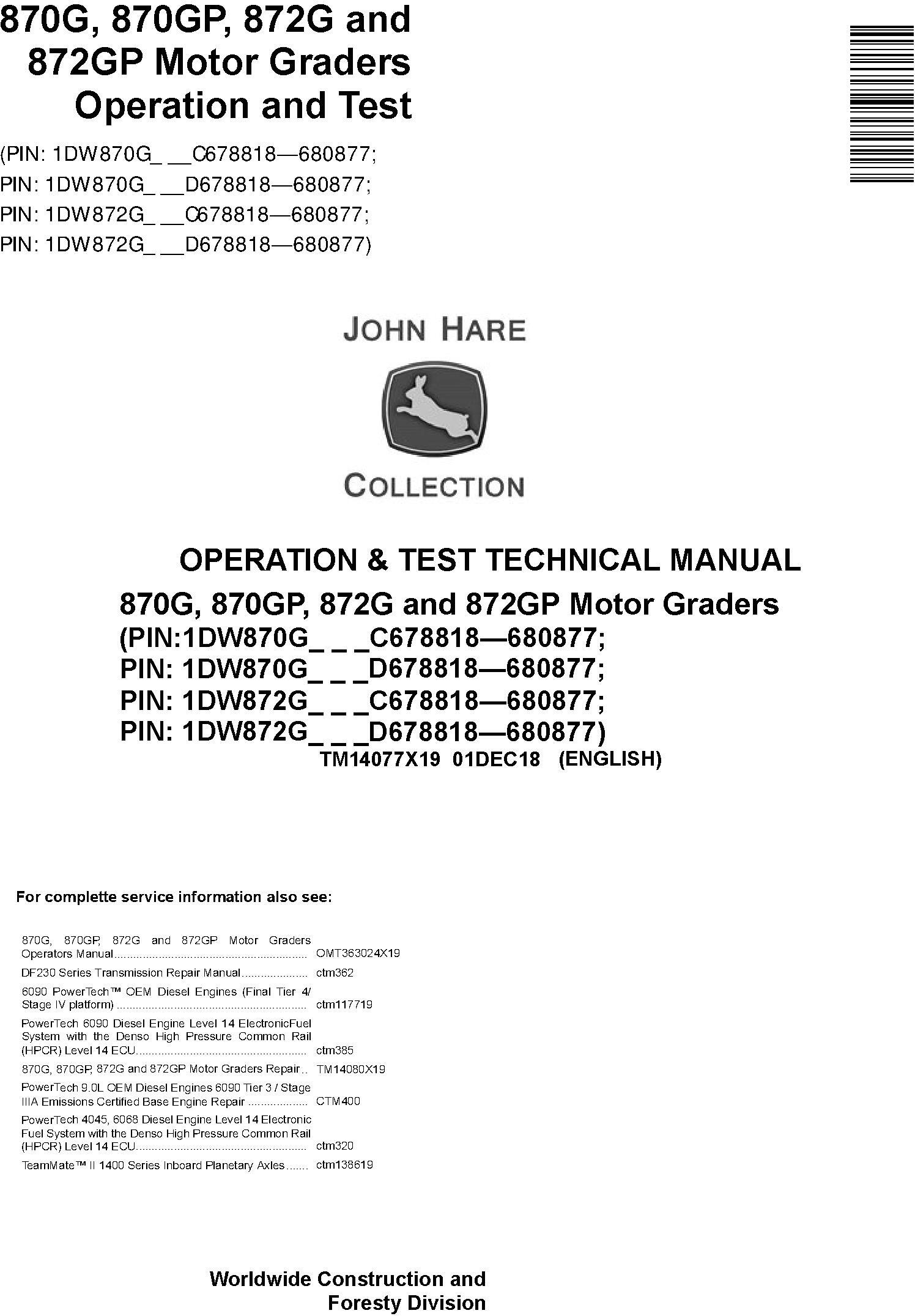 John Deere 870G, 870GP, 872G, 872GP (SN.C678818-680877) Motor Graders Diagnostic Manual (TM14077X19) - 18997