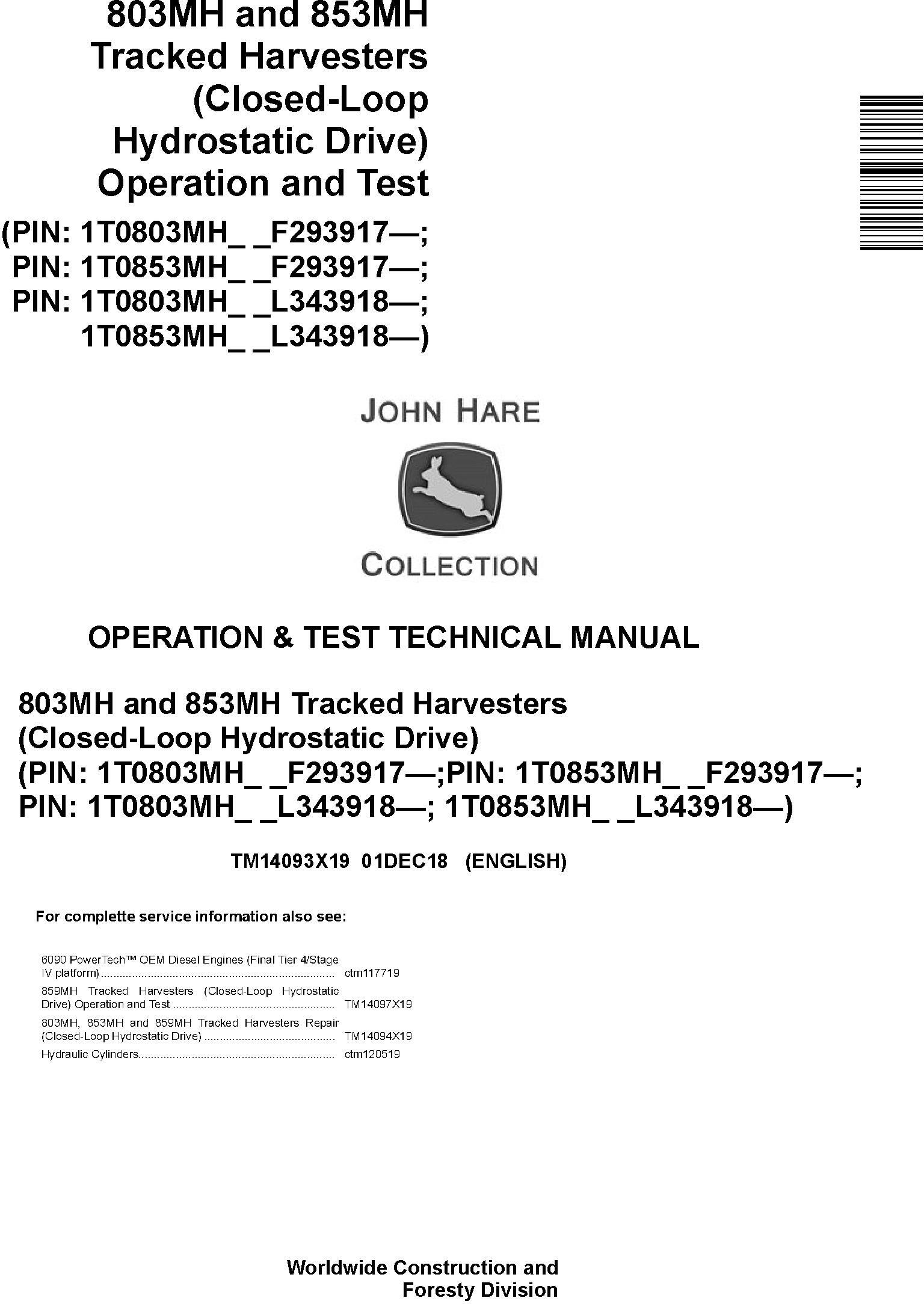 John Deere 803MH,853MH (SN. F293917-,L343918-) Harvesters (Closed-Loop) Diagnostic Manual TM14093X19 - 19171