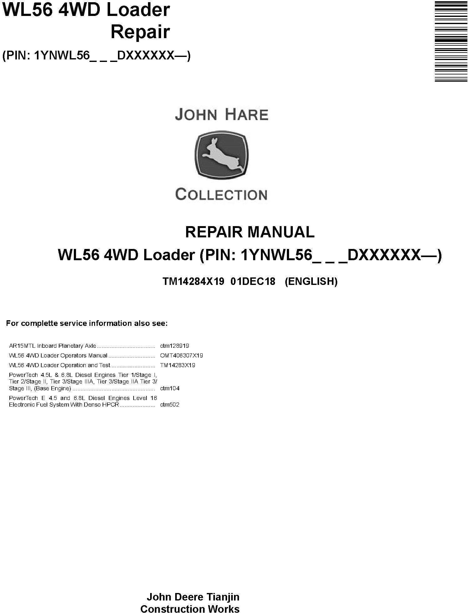 John Deere WL56 (SN. D000001-) 4WD Loader Service Repair Technical Manual (TM14284X19) - 19069