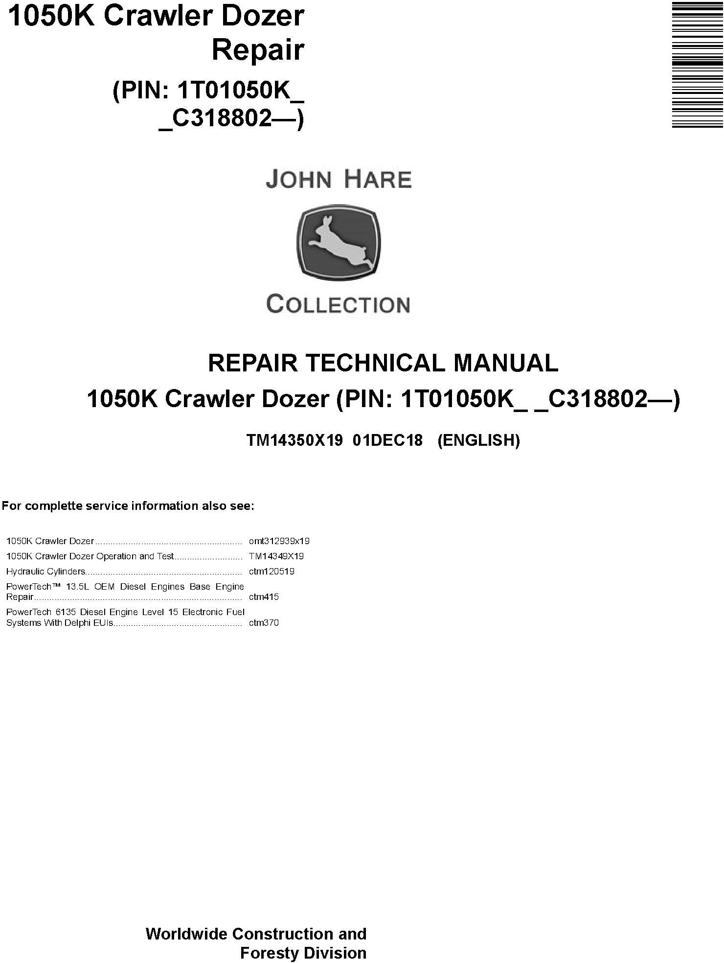 John Deere 1050K (SN. C318802-) Crawler Dozer Service Repair Technical Manual (TM14350X19) - 19040