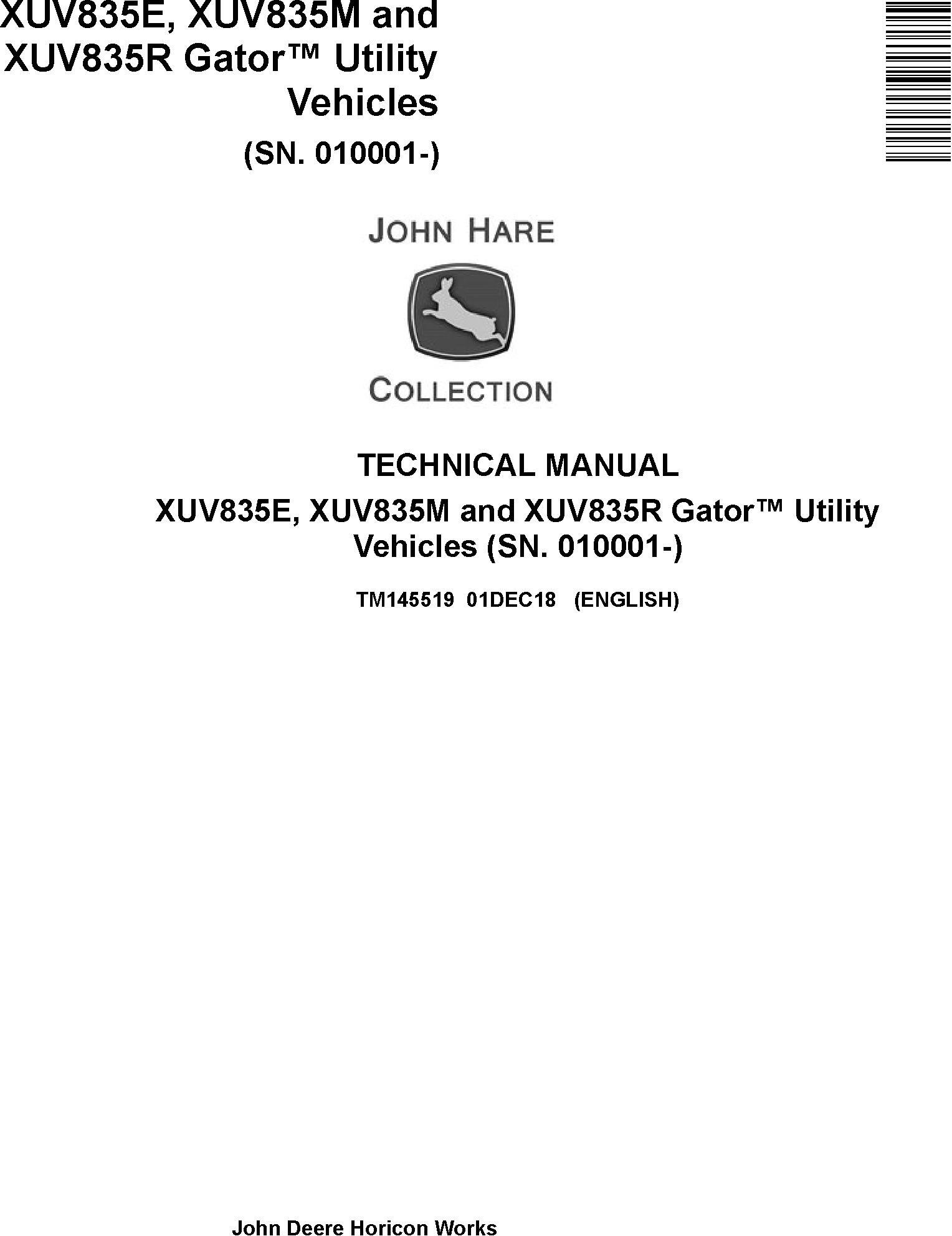John Deere XUV835E, XUV835M, XUV835R Gator Utility Vehicles (SN.010001-) Technical Manual (TM145519) - 19294