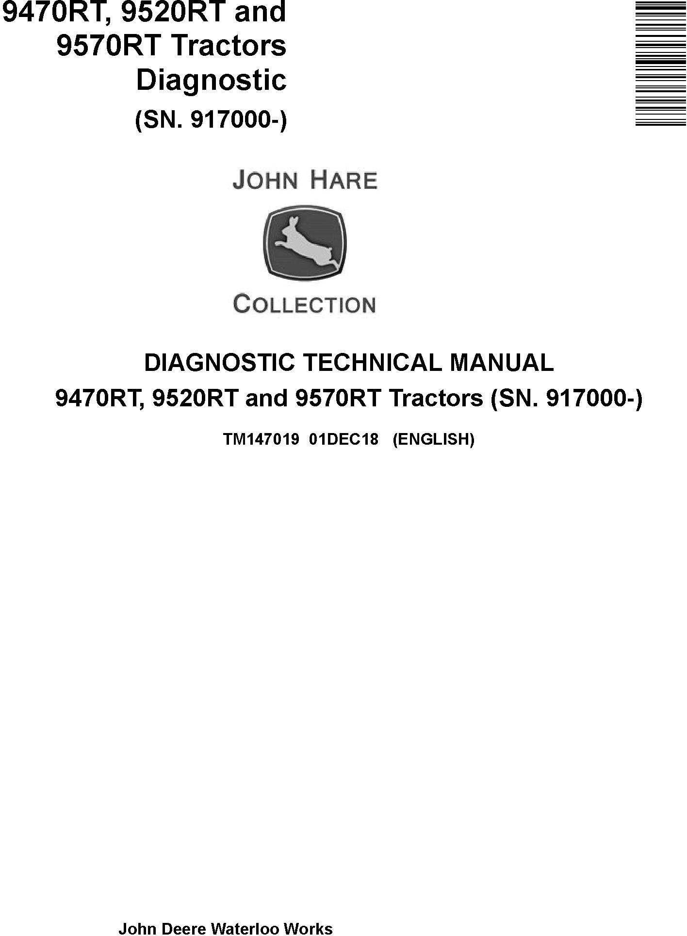 John Deere 9470RT, 9520RT and 9570RT Tractors (SN. 917000-) Diagnostic Technical Manual (TM147019) - 19094