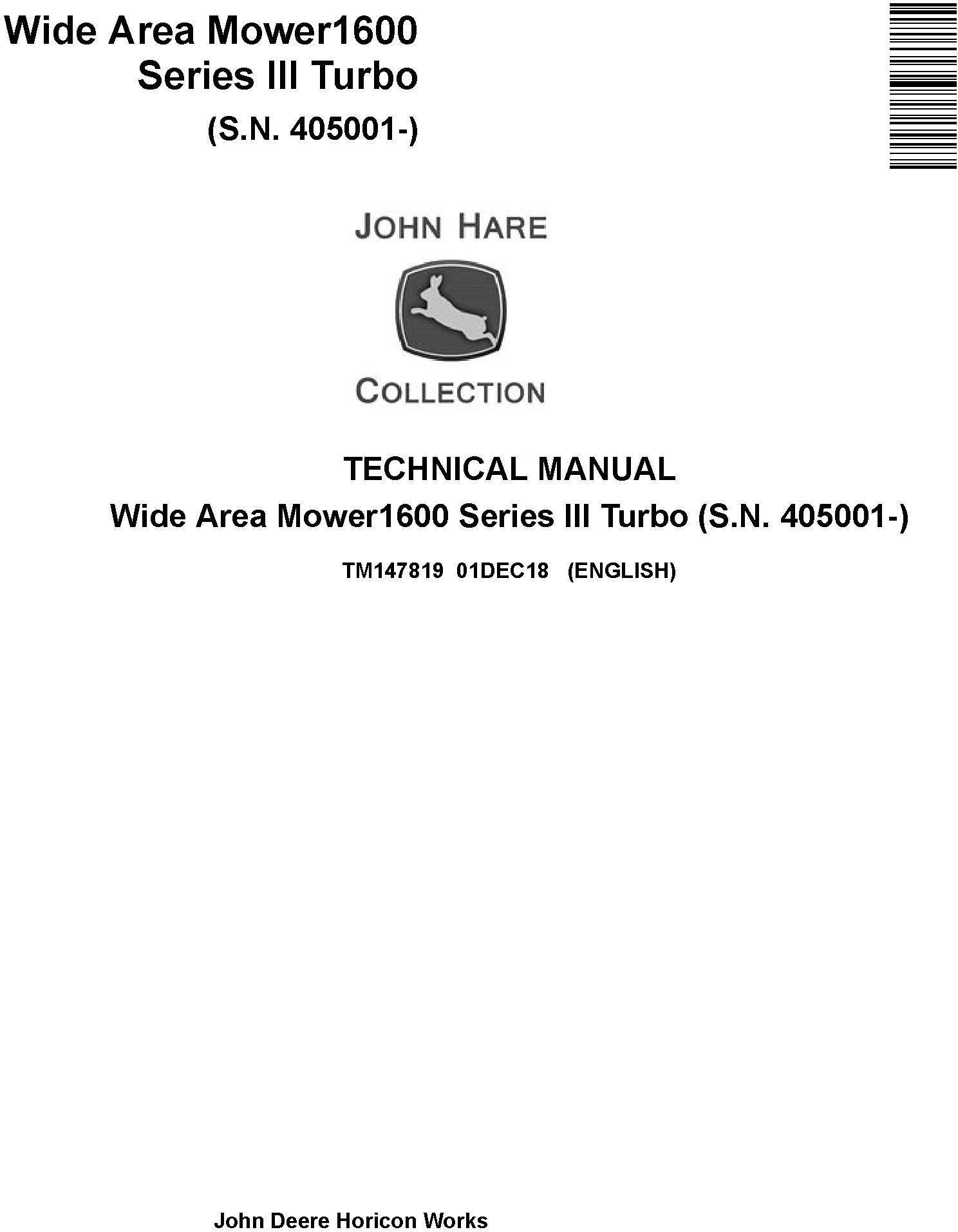 John Deere Wide Area Mower1600 Series III Turbo (SN. 405001-) Technical Manual (TM147819) - 19291